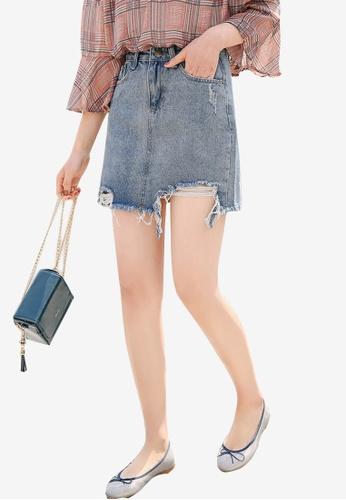 Shopsfashion blue Torn Denim Mini Skirt C378AAAB03D1C0GS_1
