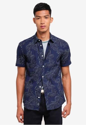 ESPRIT navy Woven Short Sleeve Shirt 47C60AA7757A3EGS_1