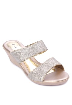 Ave Formal Two Strap Slip-on Low Wedge Sandal