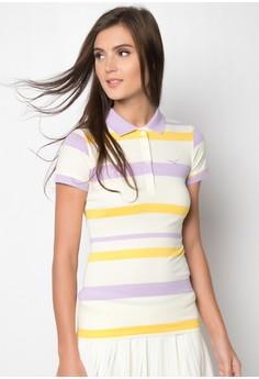 Ladies Slim Fit Stripes Polo Tee