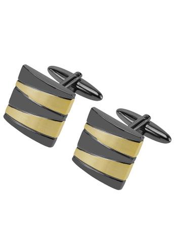 CUFF IT gold Gunmetal and Gold Mixed Pattern Cufflinks CU047AC22ZSNHK_1