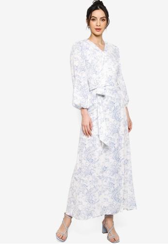 Zalia white and blue Toile Print Front Wrap Dress 275E1AAA58645CGS_1