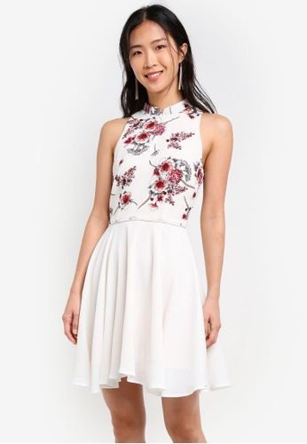 ZALORA white Printed Mandarin Collar Fit & Flare Dress With Trimmings F7095AACBBF141GS_1