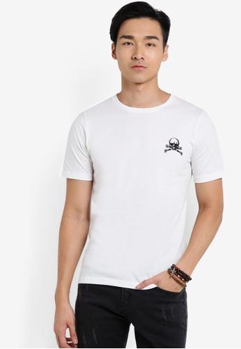 Flesh IMP white Skully Structural T-Shirt FL064AA25VVMMY_1
