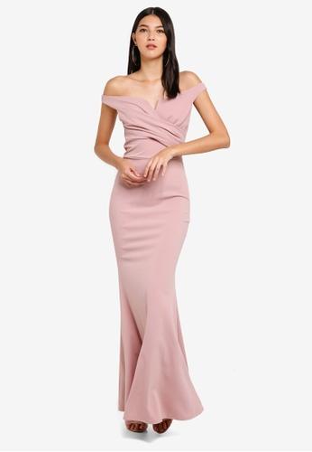 WALG pink Off The Shouder Drape Bust Fishtail Maxi Dress C9623AAC80292FGS_1