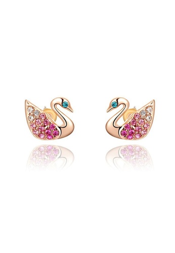 Kings Collection gold Austria Crystal Rose Gold Swan Earrings 7B5AAACE0AD085GS_1