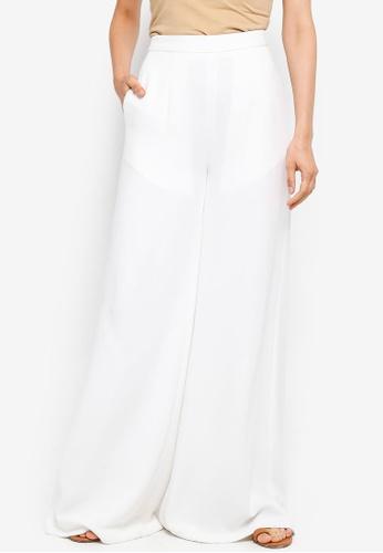 AfiqM white Wide Leg Pants 01757AA6077D5FGS_1