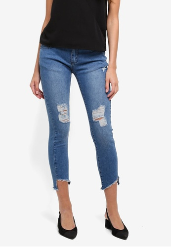 ZALORA blue Mid Rise Ripped Skinny Jeans CE6E5AAF017B8AGS_1