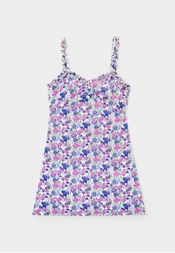 Pomelo purple Mini Floral Frill Dress - Purple 8B78BAAAD72018GS_1
