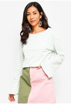 ea0f4d2125c7f Glamorous white and green Cropped Stripe T-Shirt F49B0AAD3E1F55GS 1