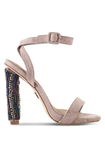 MISSGUIDED grey Nude Beaded Block Heel Sandals MI511SH73ZYGMY_1