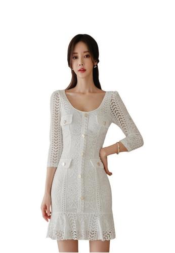 Crystal Korea Fashion white Autumn And Winter New Fashion Ladies Slim Lace Mini Dresses 49125AAF57EE0FGS_1