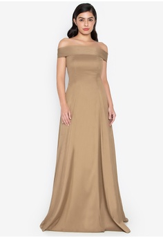 c890ff74f20 BARBA gold Shantung Off Shoulder Princess Dress 0C900AA541AD55GS 1