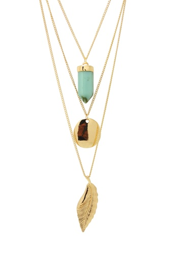 Jaysa Collection gold Golden Multi-Chains Pendant Necklace with Turquoise Shard JA875AC0F7HVSG_1