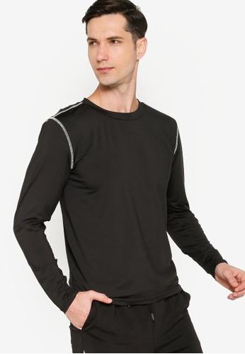 ZALORA ACTIVE black Contrast Stitching Long Sleeve T-Shirt 2A152AA59E2737GS_1