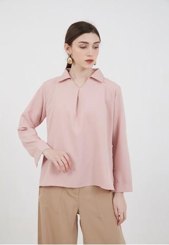 Berrybenka Label pink Sophie Murdia Plain Blouse Dusty Pink D453FAA945AEF1GS_1