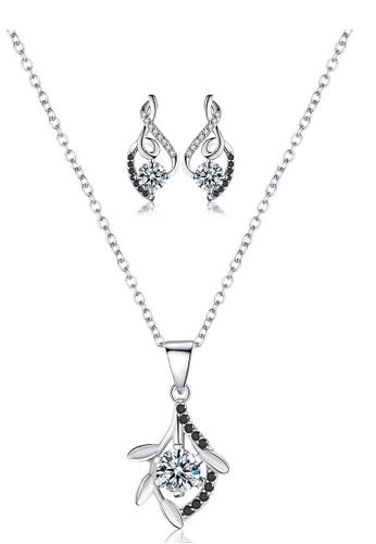 A-Excellence white Premium Elegant White Sliver Necklace Earring Set 4D376AC72DD1FCGS_1