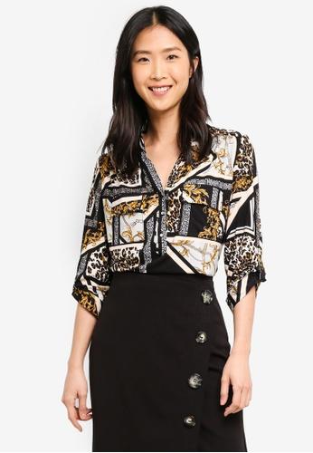 56695602949 Wallis black Petite Black Animal Patchwork Shirt 529A4AA76F0C97GS 1