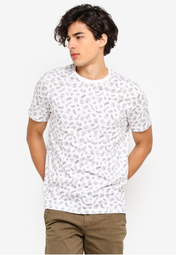 United Colors of Benetton white Printed T-shirt. B8794AADA5ED72GS_1