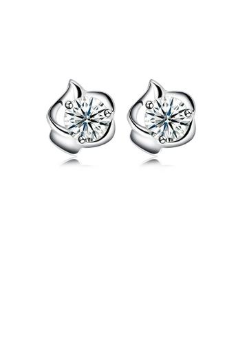 Glamorousky white 925 Sterling Silver Simple Fashion Geometric Cubic Zirconia Stud Earrings 39FE7ACD6221FEGS_1