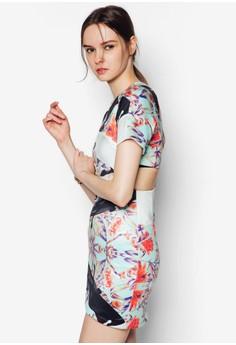 Sleeved Short Dress In Florals