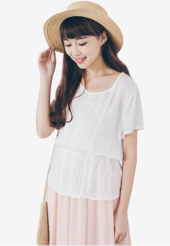 Tokichoi white Smock Top With Embroidered Panels TO550AA21WXMMY_1