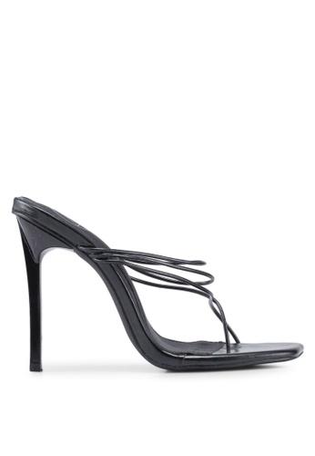 MISSGUIDED 黑色 繞帶夾腳高跟鞋 BF769SH5C33CE8GS_1