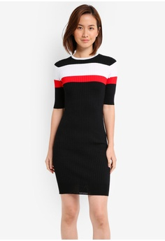 ebc04140f1306 ZALORA black Striped Bodycon Rib Dress 905E3AADBB0671GS 1