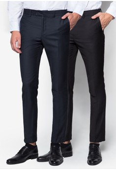 Slim-Fit Formal Trousers with Contrast Band (2in1)