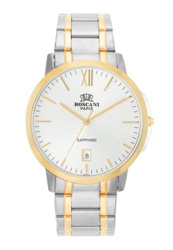Roscani gold Roscani Tom 427 (Sapphire Crystal + Sunray Dial) Gold Silver White Bracelet Men Watch 1E7F3AC4D43296GS_1