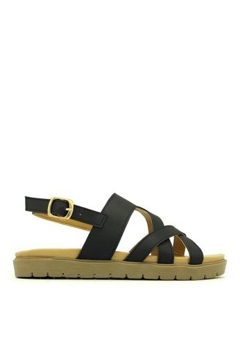 Carlo Rino black Carlo Rino 333070-167-08 Slingback Flat Sandal (Black) CA220SH0S9H7MY_1