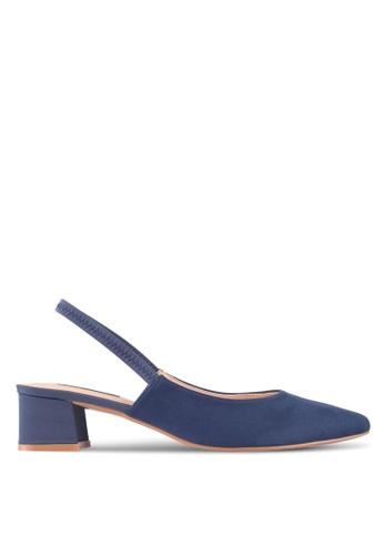 ZALORA 藍色 Mixed Material Blocked Heels D9252SH09209C0GS_1