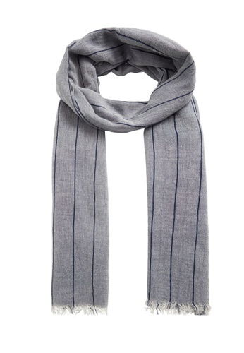 MANGO Man grey Stripe-Pattern Cotton Scarf 3C91CAC3BA28CAGS_1