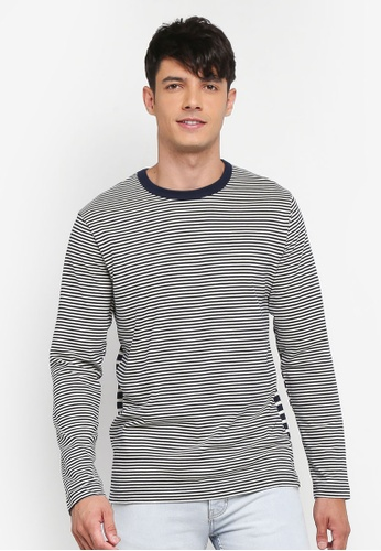 French Connection blue and multi Odd Stripe Crew Neck T-Shirt 9516CAAE710785GS_1