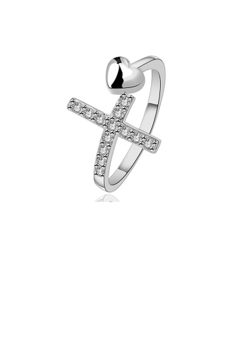 Glamorousky white Simple Romantic Heart Shaped Cross Adjustable Ring with Cubic Zircon CBB6CACD2B51F9GS_1