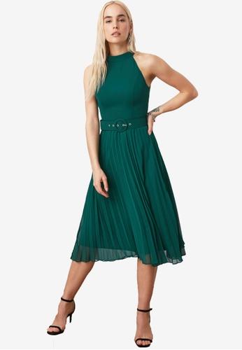 Trendyol green Belted Midi Pleats Dress CFCEBAA7E1D1E4GS_1
