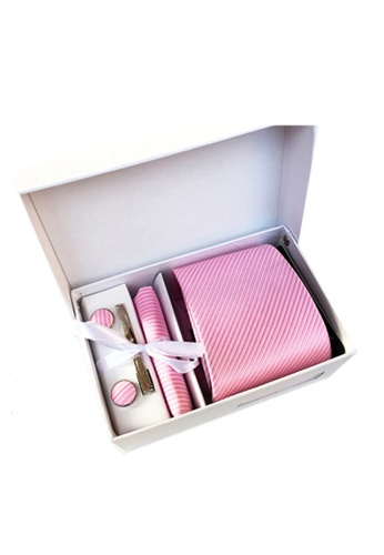Kings Collection pink Pink Tie, Pocket Square, Cufflinks, Tie Clip 4 Pieces Gift Set (UPKCBT2084) EED0CACEB25795GS_1