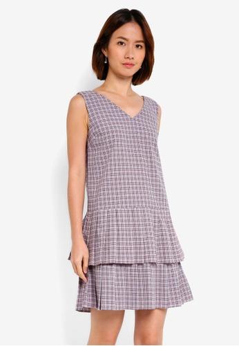 NAIN pink Checkered Double Pleats Pinafore Dress 17954AA8EEC1AEGS_1