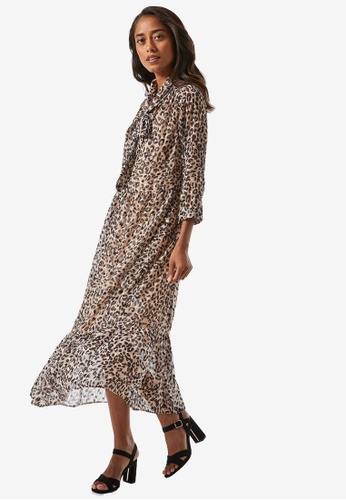 Dorothy Perkins brown Petite Animal Pussybow Maxi Dress CF53CAAF75AEEBGS_1