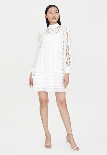Pomelo white Mini Lace Puffed Sleeves Dress - White 300BDAA3D9AA6CGS_1