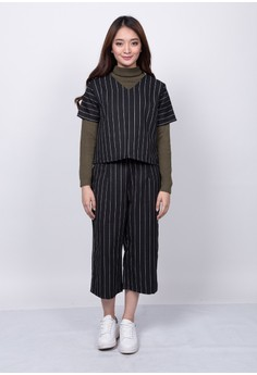 Pin Stripes Shirt and Cropped Pants Terno