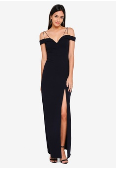 fee5aaa7262c3 AX Paris navy Navy Strappy Off The Shoulder Side Split Maxi Dress  60C88AAE807D73GS 1