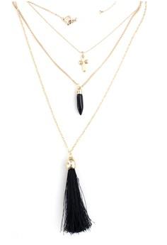 Layered Cross Tassel Necklace