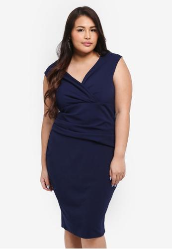 Goddiva navy Plus Size Bardot Pleated Midi Dress 348EFAAEEB8DCFGS_1