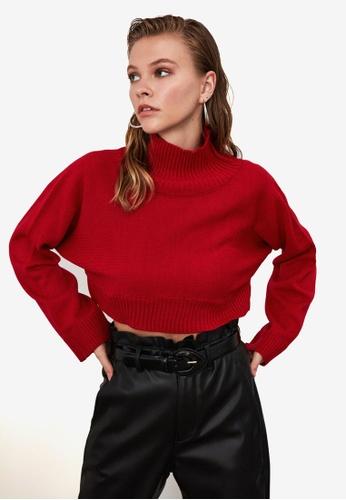 Trendyol red Turtleneck Crop Knit Sweater 7F2F6AA56E51DCGS_1