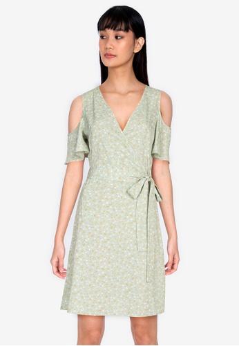 ZALORA BASICS 多色 Overlap Top Cold Shoulder Dress EF991AA6926537GS_1