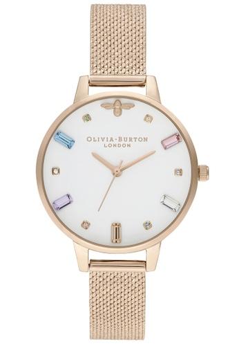 Olivia Burton white Olivia Burton Rainbow Bee Pale Rose Gold Women's Watch (OB16RB15) 5C4FFAC896EBF6GS_1