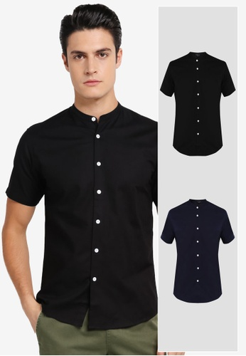 ZALORA black and navy 2 Pack Slim Fit Mandarin Collar Oxford Short Sleeve Shirt ZA819AA0T28VMY_1