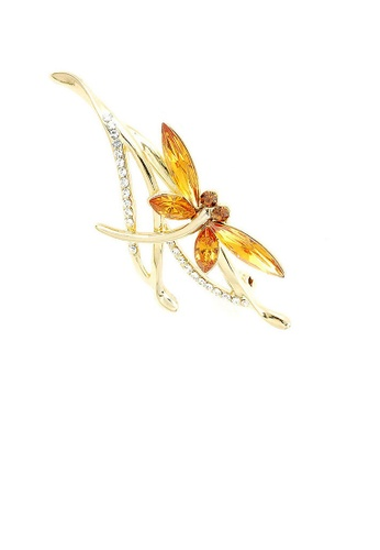Glamorousky silver Dragonfly Brooch with Yellow Austrian Element Crystals 69CA3AC29101B6GS_1