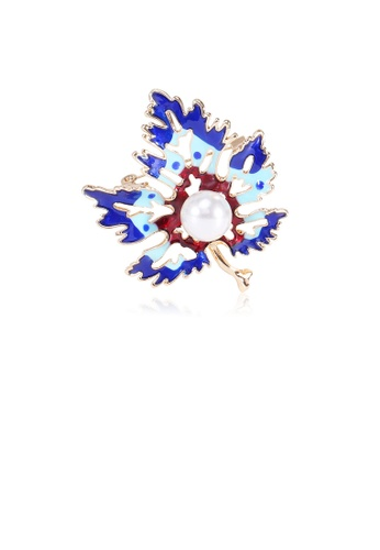 Glamorousky white Simple and Fashion Plated Gold Blue Maple Leaf Imitation Pearl Brooch B52B3ACDEF6051GS_1